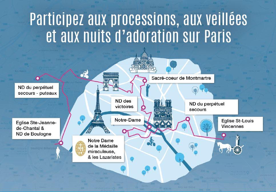 Sur les routes de France, le « M de Marie » et ses milliers de pèlerins Carte-Paris